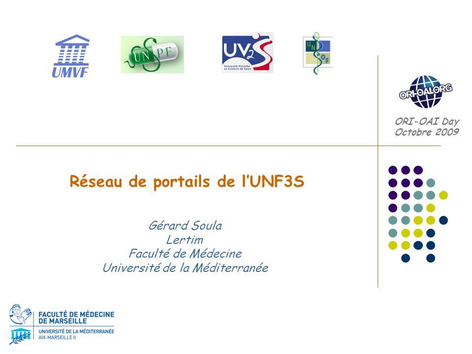 Réseaux de portails de l UNF3S Apporter notre contribution à l indispensable établissement d une politique concertée entre les acteurs institutionnels (UNT, Universités,...) afin de constituer un réseau d entrepôts OAI cohérent aux niveaux syntaxique et sémantique Mutualisation, Aides +++