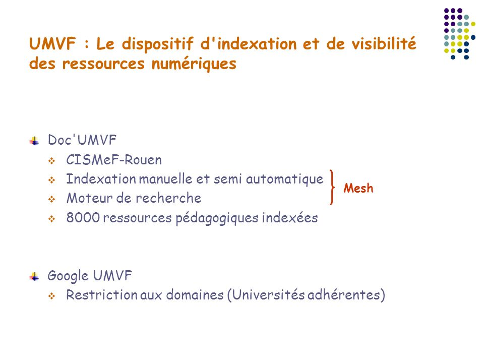 Doc UMVF Un dispositif basé sur les métadonnées titre Résumé … Documents Entrepôt Doc UMVF Equipe CISMeF Veille documentaire Envoi explicite Ressources Search Etablissement, site UMVF