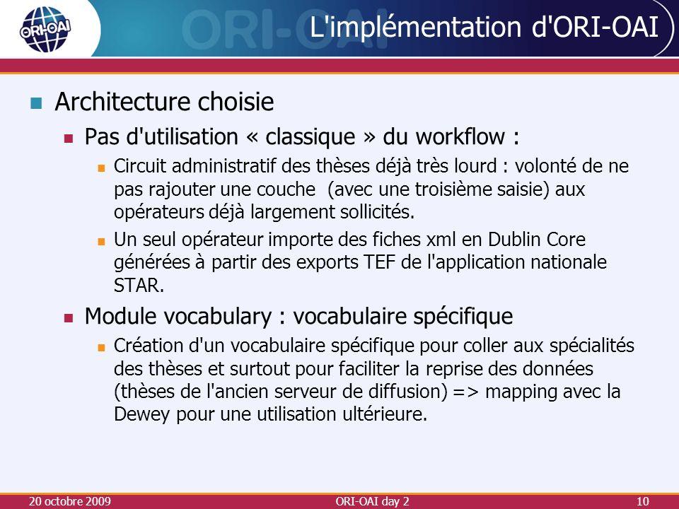 L implémentation d ORI-OAI Architecture choisie Pas d utilisation « classique » du workflow : Circuit administratif des thèses déjà très lourd : volonté de ne pas rajouter une couche (avec une troisième saisie) aux opérateurs déjà largement sollicités.