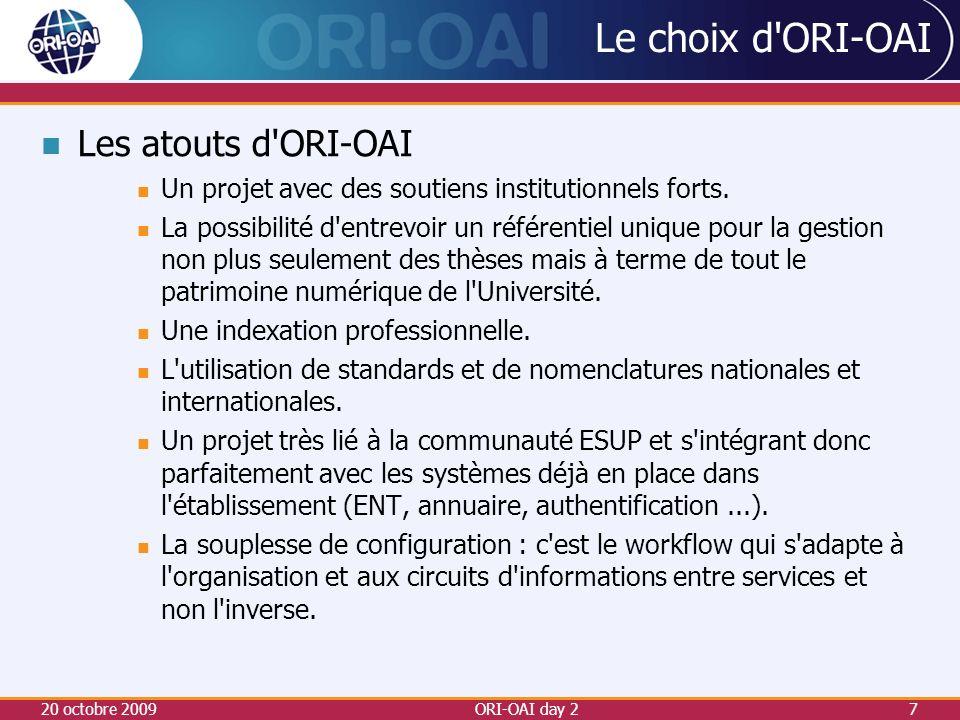 Le choix d ORI-OAI Les limites...