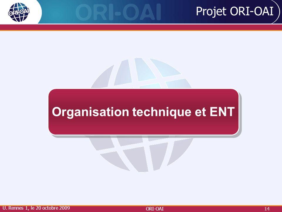 ORI-OAI14 Projet ORI-OAI Organisation technique et ENT U. Rennes 1, le 20 octobre 2009