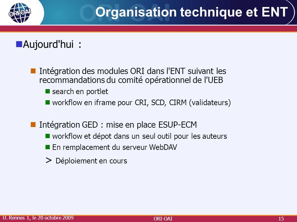 ORI-OAI15 Organisation technique et ENT Aujourd'hui : Intégration des modules ORI dans l'ENT suivant les recommandations du comité opérationnel de l'U
