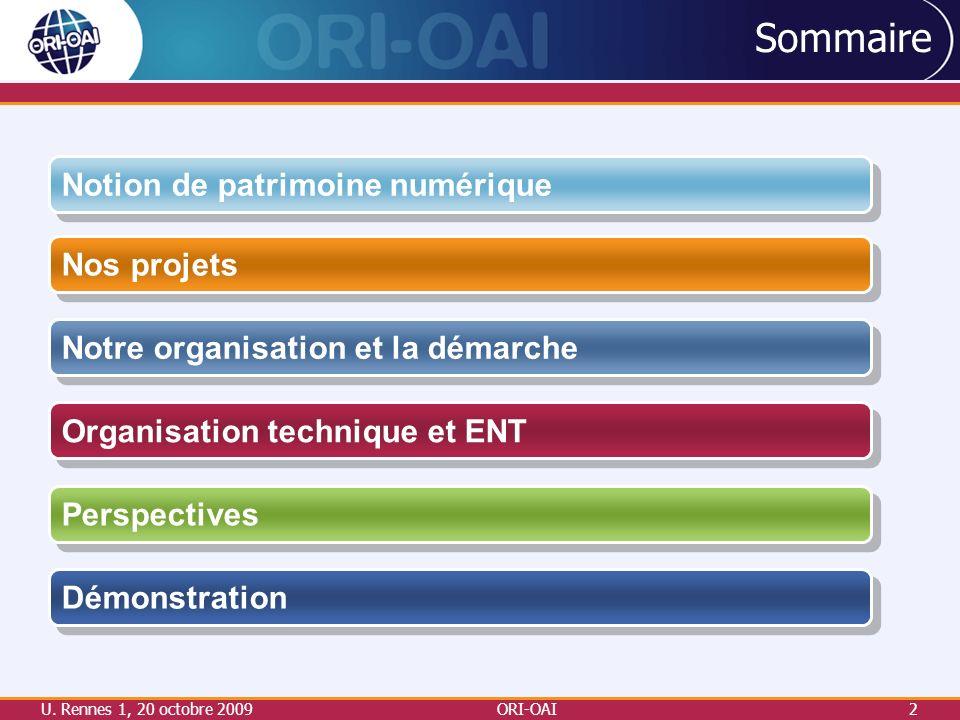 U. Rennes 1, 20 octobre 2009ORI-OAI2 Sommaire Nos projets Notre organisation et la démarche Perspectives Organisation technique et ENT Notion de patri