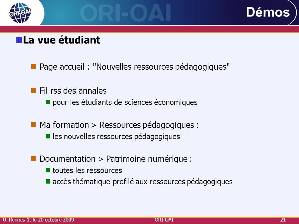 ORI-OAI21 Démos La vue étudiant Page accueil :