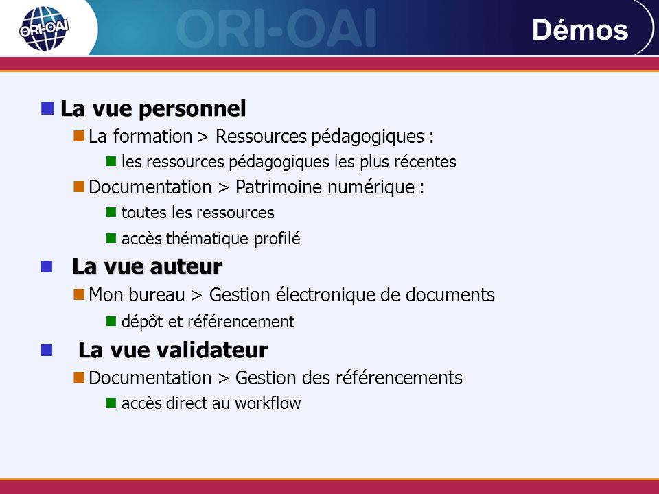 La vue personnel La formation > Ressources pédagogiques : les ressources pédagogiques les plus récentes Documentation > Patrimoine numérique : toutes