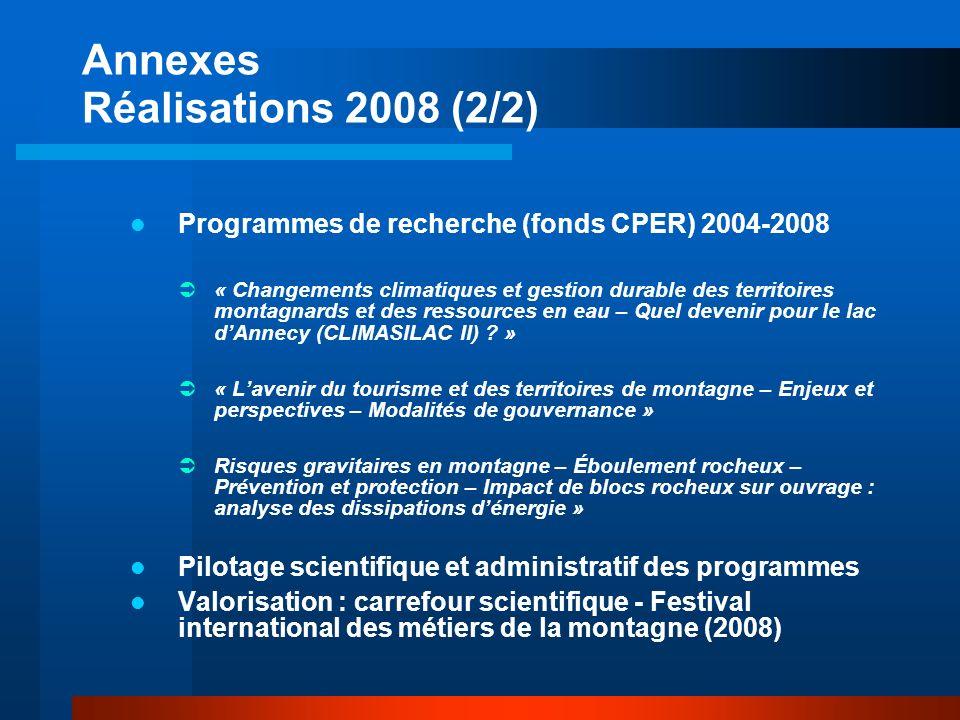 Annexes Réalisations 2008 (2/2) Programmes de recherche (fonds CPER) 2004-2008 « Changements climatiques et gestion durable des territoires montagnards et des ressources en eau – Quel devenir pour le lac dAnnecy (CLIMASILAC II) .