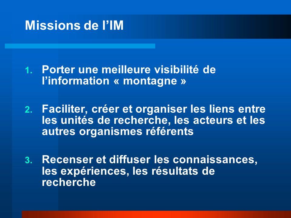 Missions de lIM 1. Porter une meilleure visibilité de linformation « montagne » 2.
