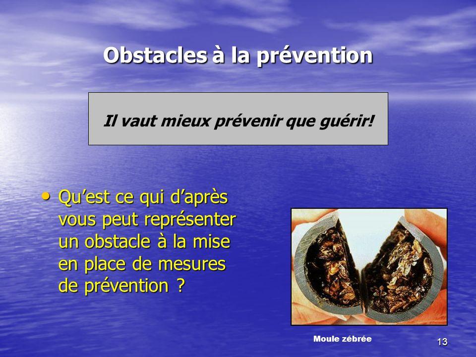 13 Obstacles à la prévention Il vaut mieux prévenir que guérir.