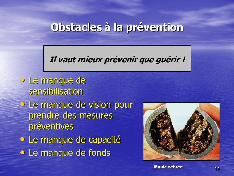 14 Obstacles à la prévention Il vaut mieux prévenir que guérir .
