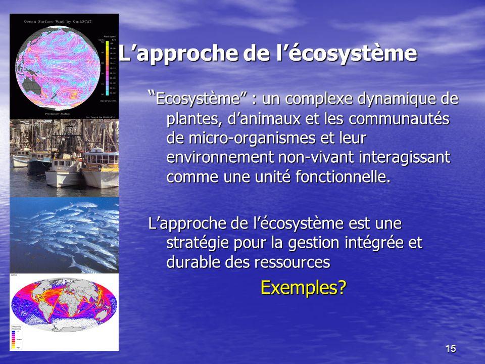 15 Lapproche de lécosystème Ecosystème : un complexe dynamique de plantes, danimaux et les communautés de micro-organismes et leur environnement non-vivant interagissant comme une unité fonctionnelle.