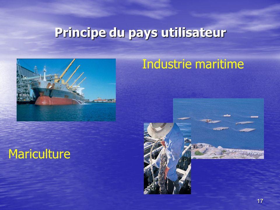 17 Principe du pays utilisateur Industrie maritime Mariculture
