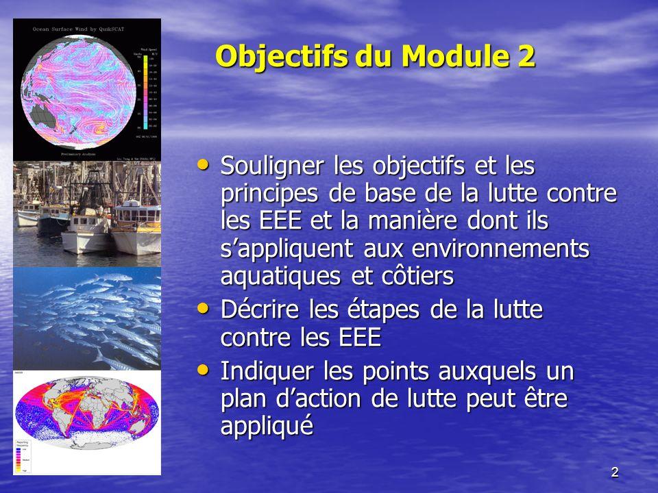 2 Objectifs du Module 2 Souligner les objectifs et les principes de base de la lutte contre les EEE et la manière dont ils sappliquent aux environnements aquatiques et côtiers Souligner les objectifs et les principes de base de la lutte contre les EEE et la manière dont ils sappliquent aux environnements aquatiques et côtiers Décrire les étapes de la lutte contre les EEE Décrire les étapes de la lutte contre les EEE Indiquer les points auxquels un plan daction de lutte peut être appliqué Indiquer les points auxquels un plan daction de lutte peut être appliqué