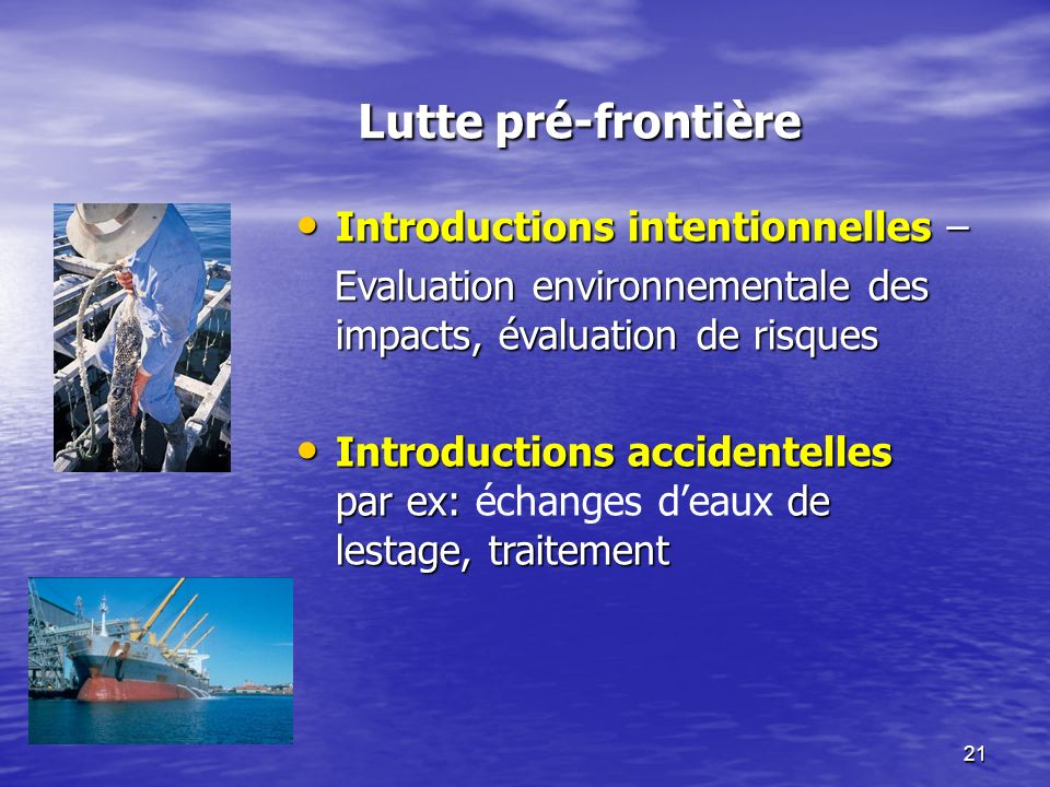 21 Lutte pré-frontière Introductions intentionnelles – Introductions intentionnelles – Evaluation environnementale des impacts, évaluation de risques Evaluation environnementale des impacts, évaluation de risques Introductions accidentelles par ex: de lestage, traitement Introductions accidentelles par ex: échanges deaux de lestage, traitement