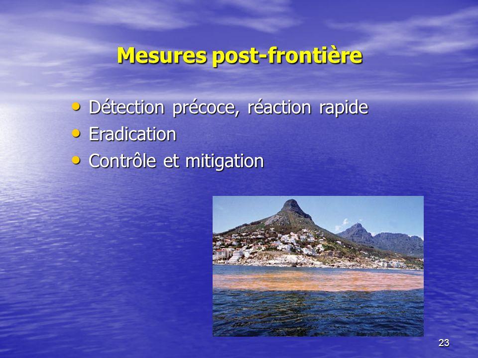 23 Mesures post-frontière Détection précoce, réaction rapide Détection précoce, réaction rapide Eradication Eradication Contrôle et mitigation Contrôle et mitigation