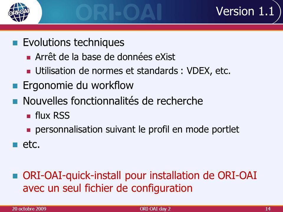 Version 1.1 Evolutions techniques Arrêt de la base de données eXist Utilisation de normes et standards : VDEX, etc.