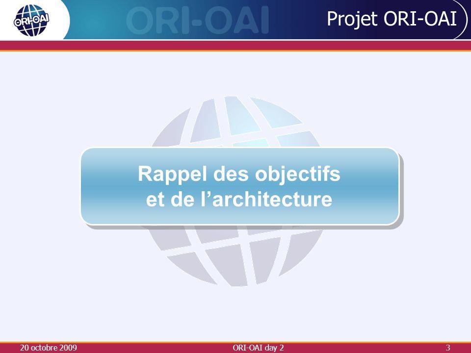4 ORI-OAI-repository entrepôt d exposition des métadonnées ORI-OAI-repository entrepôt d exposition des métadonnées ESUP-ECM + ORI-OAI-nuxeo Stockage des documents et gestion des authentifications ESUP-ECM + ORI-OAI-nuxeo Stockage des documents et gestion des authentifications ORI-OAI-vocabulary gestionnaire de vocabulaires ORI-OAI-vocabulary gestionnaire de vocabulaires ORI-OAI-harvester moissonneur de métadonnées ORI-OAI-harvester moissonneur de métadonnées ORI-OAI-indexing moteur d indexation ORI-OAI-indexing moteur d indexation ORI-OAI-search moteur de recherche ORI-OAI-search moteur de recherche ORI-OAI-md-editor éditeur de métadonnées ORI-OAI-md-editor éditeur de métadonnées ORI-OAI-worflow gestionnaire du workflow de saisie ORI-OAI-worflow gestionnaire du workflow de saisie 20 octobre 2009ORI-OAI day 2