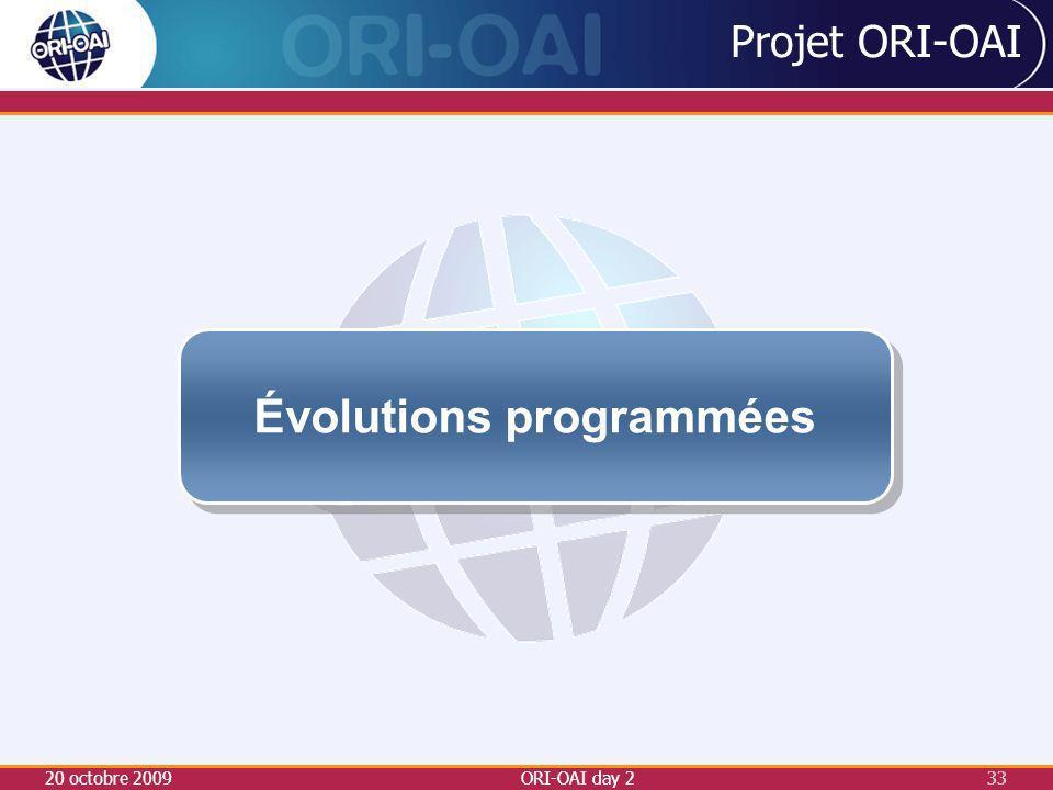 20 octobre 2009ORI-OAI day 233 Projet ORI-OAI Évolutions programmées