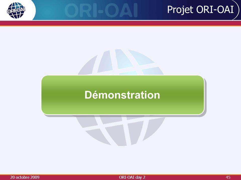 20 octobre 2009ORI-OAI day 245 Projet ORI-OAI Démonstration