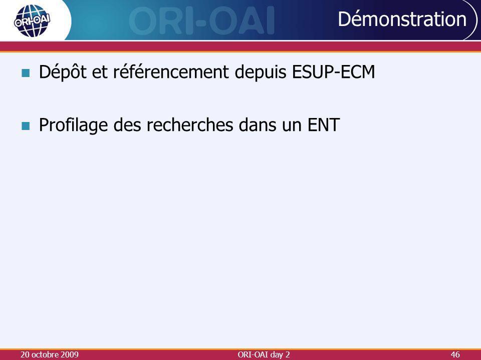 Dépôt et référencement depuis ESUP-ECM Profilage des recherches dans un ENT 20 octobre 2009ORI-OAI day 246