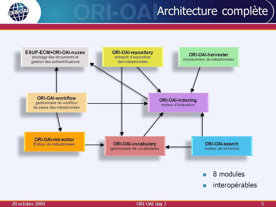 20 octobre 2009ORI-OAI day 25 Architecture complète ESUP-ECM+ORI-OAI-nuxeo stockage des documents et gestion des authentifications ESUP-ECM+ORI-OAI-nuxeo stockage des documents et gestion des authentifications ORI-OAI-repository entrepôt dexposition des métadonnées ORI-OAI-repository entrepôt dexposition des métadonnées ORI-OAI-indexing moteur dindexation ORI-OAI-indexing moteur dindexation ORI-OAI-workflow gestionnaire du workflow de saisie des métadonnées ORI-OAI-workflow gestionnaire du workflow de saisie des métadonnées ORI-OAI-vocabulary gestionnaire de vocabulaires ORI-OAI-vocabulary gestionnaire de vocabulaires ORI-OAI-harvester moissonneur de métadonnées ORI-OAI-harvester moissonneur de métadonnées ORI-OAI-search moteur de recherche ORI-OAI-search moteur de recherche 8 modules interopérables ORI-OAI-md-editor Éditeur de métadonnées ORI-OAI-md-editor Éditeur de métadonnées