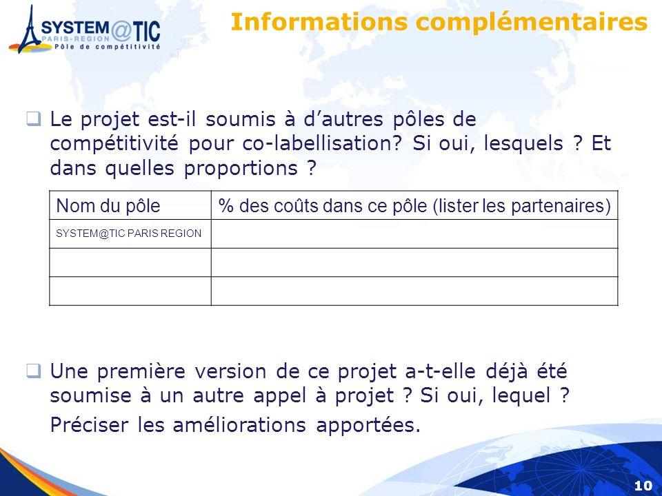 10 Informations complémentaires Le projet est-il soumis à dautres pôles de compétitivité pour co-labellisation.