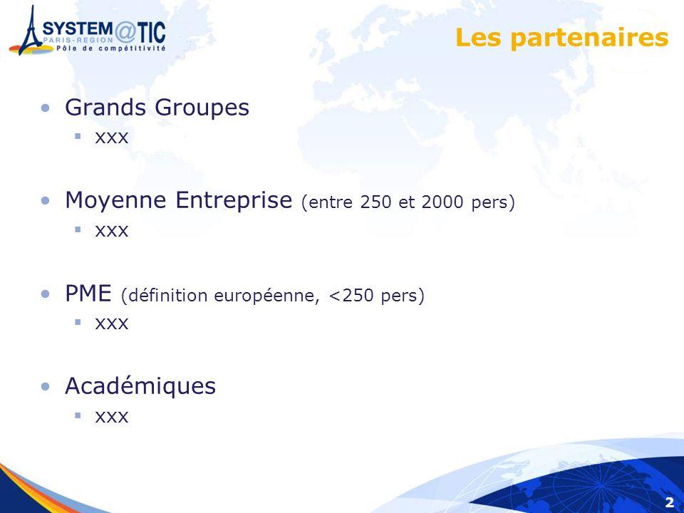 2 Les partenaires Grands Groupes xxx Moyenne Entreprise (entre 250 et 2000 pers) xxx PME (définition européenne, <250 pers) xxx Académiques xxx