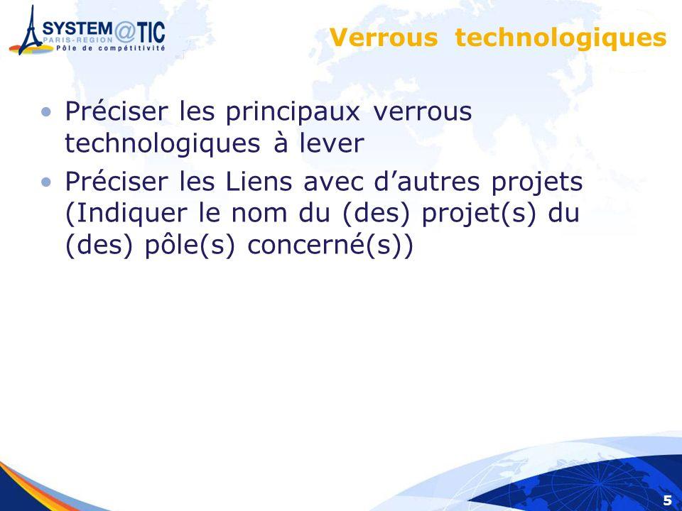 5 Verrous technologiques Préciser les principaux verrous technologiques à lever Préciser les Liens avec dautres projets (Indiquer le nom du (des) projet(s) du (des) pôle(s) concerné(s))