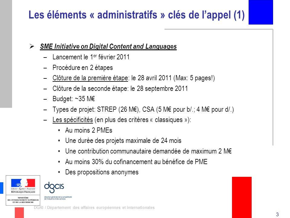 3 DGRI / Département des affaires européennes et internationales Les éléments « administratifs » clés de lappel (1) SME Initiative on Digital Content