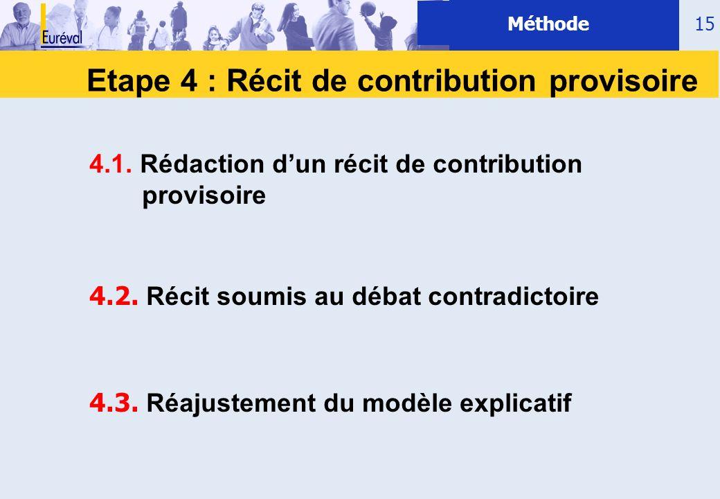 15 Etape 4 : Récit de contribution provisoire Méthode 4.1. Rédaction dun récit de contribution provisoire 4.2. Récit soumis au débat contradictoire 4.