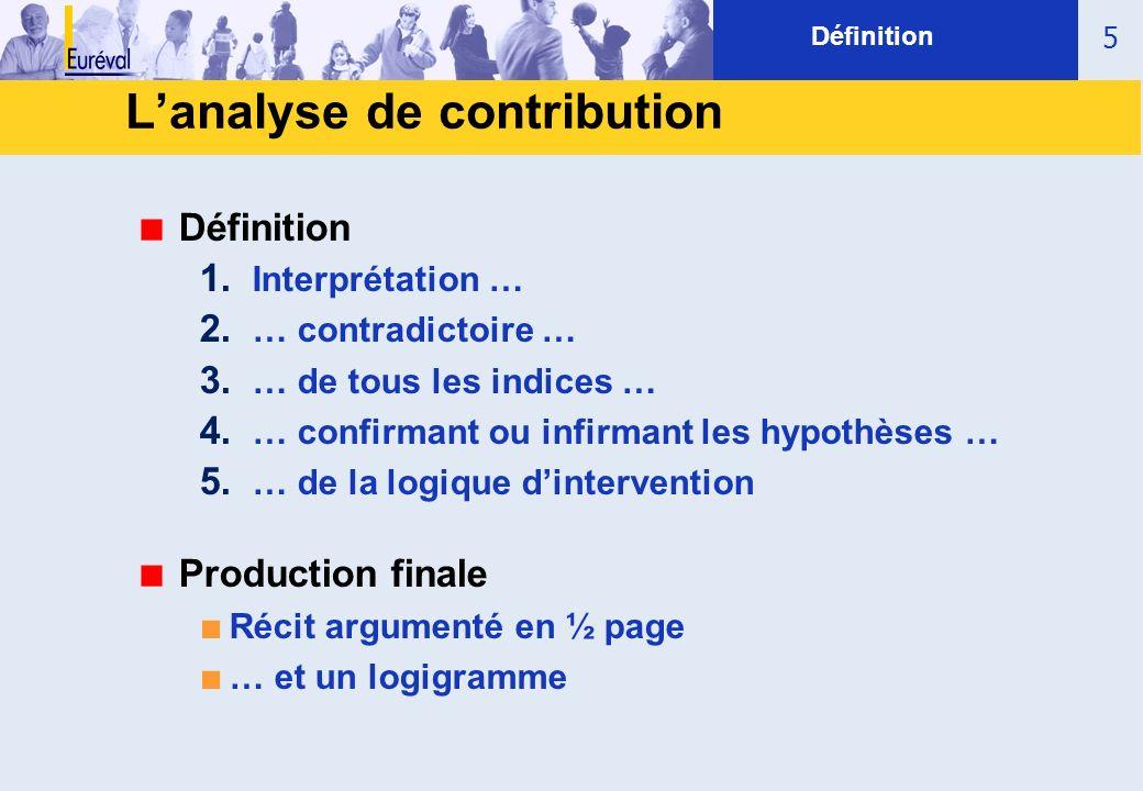 5 Définition 1. Interprétation … 2. … contradictoire … 3. … de tous les indices … 4. … confirmant ou infirmant les hypothèses … 5. … de la logique din