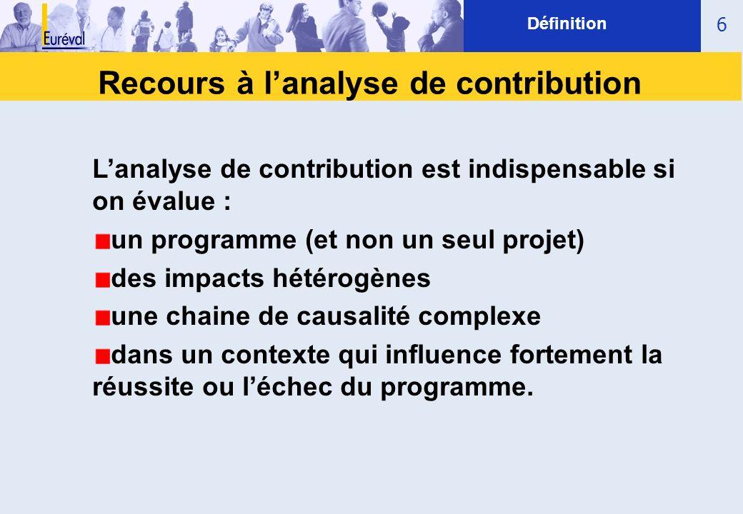 Recours à lanalyse de contribution 6 Définition Lanalyse de contribution est indispensable si on évalue : un programme (et non un seul projet) des imp
