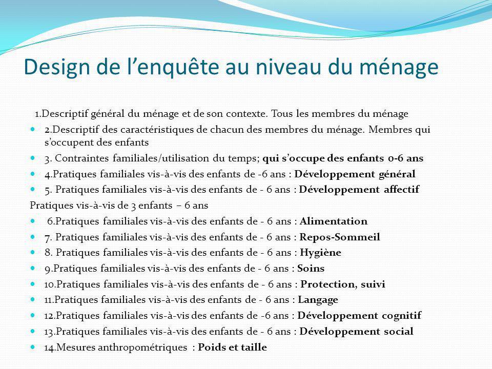 Design de lenquête au niveau du ménage 1.Descriptif général du ménage et de son contexte.