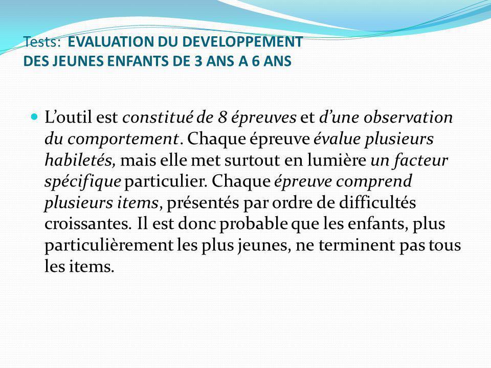 Tests: EVALUATION DU DEVELOPPEMENT DES JEUNES ENFANTS DE 3 ANS A 6 ANS Loutil est constitué de 8 épreuves et dune observation du comportement.