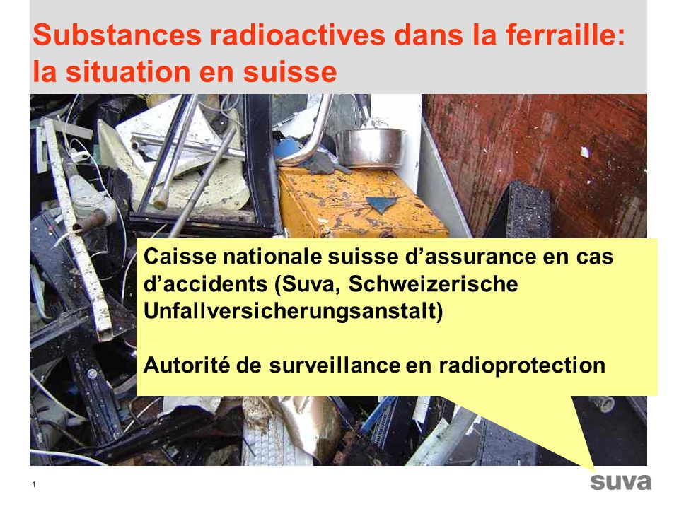 1 Substances radioactives dans la ferraille: la situation en suisse Caisse nationale suisse dassurance en cas daccidents (Suva, Schweizerische Unfallversicherungsanstalt) Autorité de surveillance en radioprotection