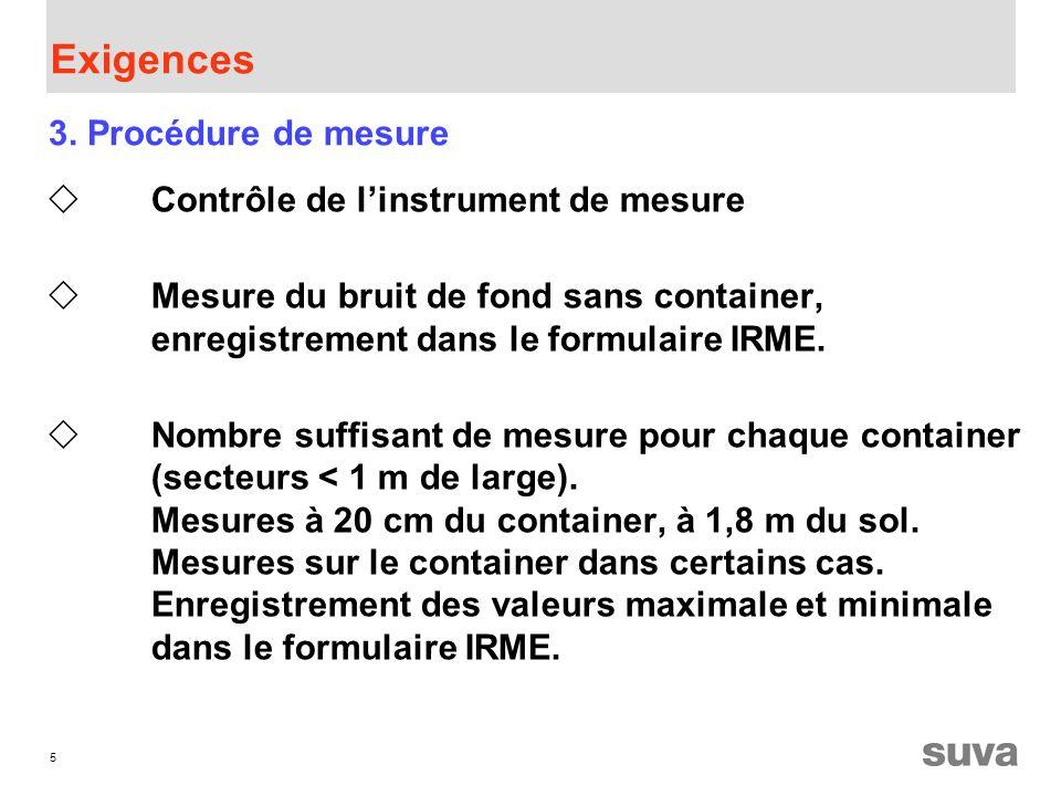 5 Exigences Contrôle de linstrument de mesure Mesure du bruit de fond sans container, enregistrement dans le formulaire IRME.