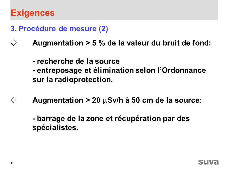 6 Exigences Augmentation > 5 % de la valeur du bruit de fond: - recherche de la source - entreposage et élimination selon lOrdonnance sur la radioprotection.