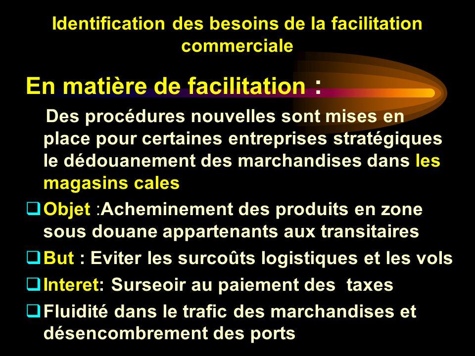 Identification des besoins de la facilitation commerciale En matière de facilitation : Des procédures nouvelles sont mises en place pour certaines ent