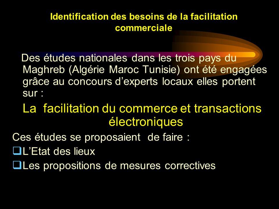 Identification des besoins de la facilitation commerciale Des études nationales dans les trois pays du Maghreb (Algérie Maroc Tunisie) ont été engagée
