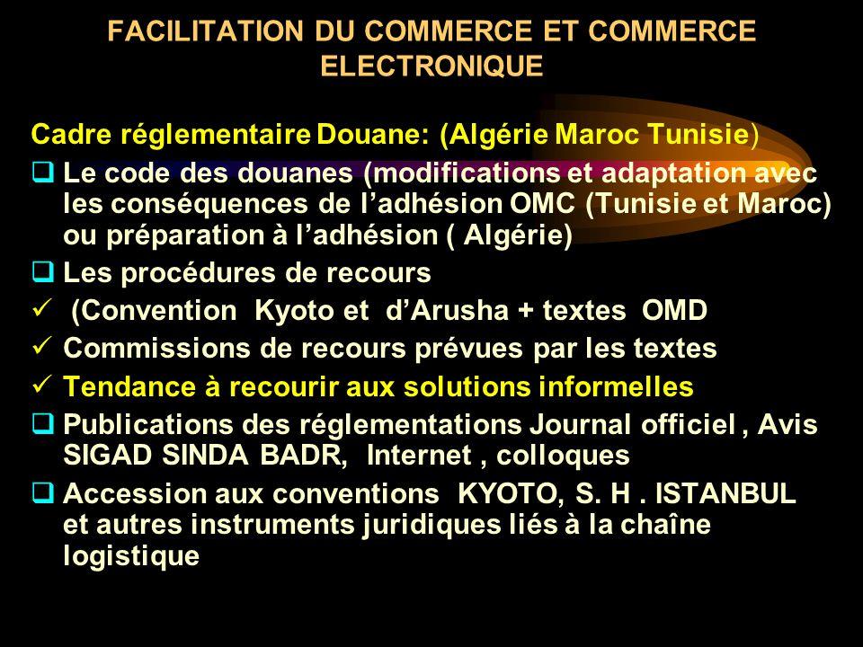 FACILITATION DU COMMERCE ET COMMERCE ELECTRONIQUE Cadre réglementaire Douane: (Algérie Maroc Tunisie) Le code des douanes (modifications et adaptation