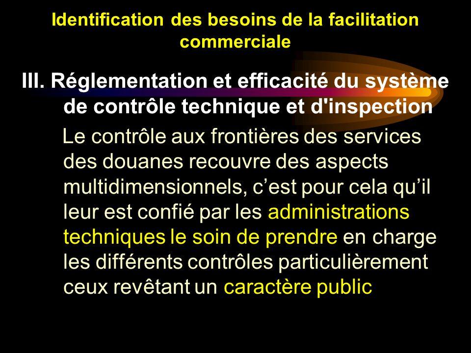 Identification des besoins de la facilitation commerciale III. Réglementation et efficacité du système de contrôle technique et d'inspection Le contrô