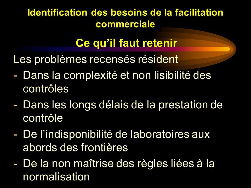 Identification des besoins de la facilitation commerciale Ce quil faut retenir Les problèmes recensés résident -Dans la complexité et non lisibilité d