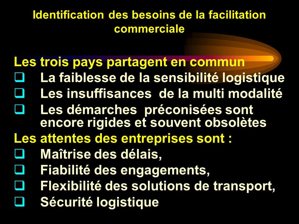 Identification des besoins de la facilitation commerciale Les trois pays partagent en commun La faiblesse de la sensibilité logistique Les insuffisanc