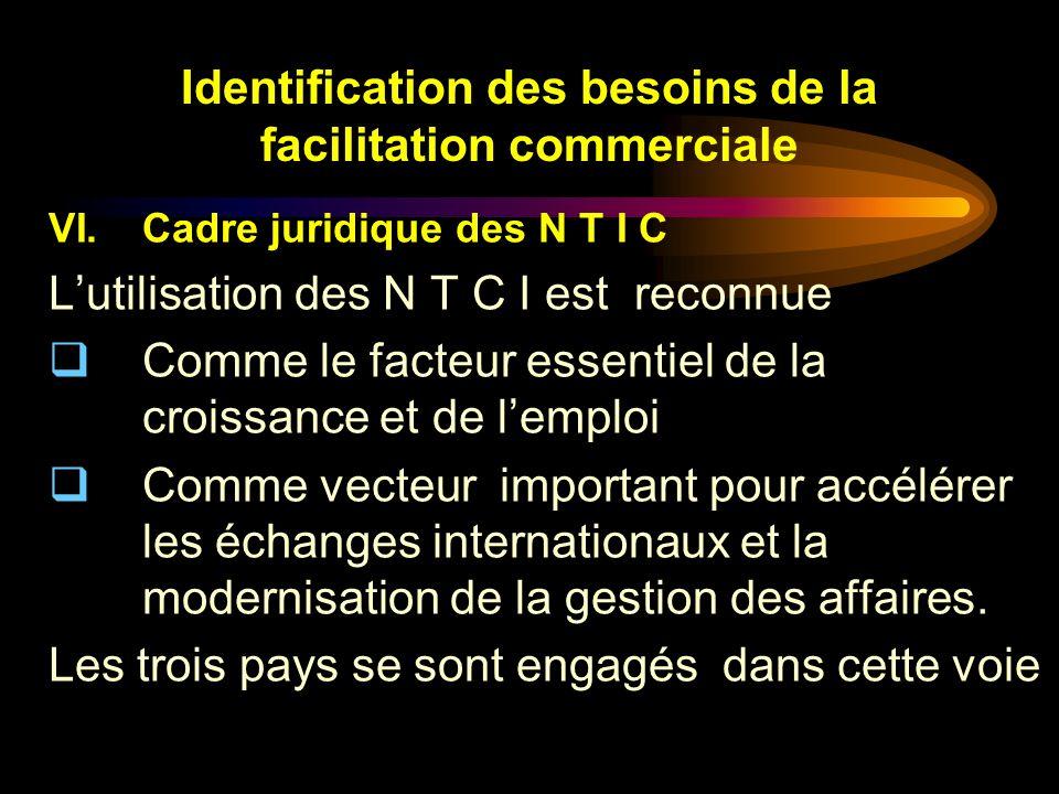 Identification des besoins de la facilitation commerciale VI.Cadre juridique des N T I C Lutilisation des N T C I est reconnue Comme le facteur essent