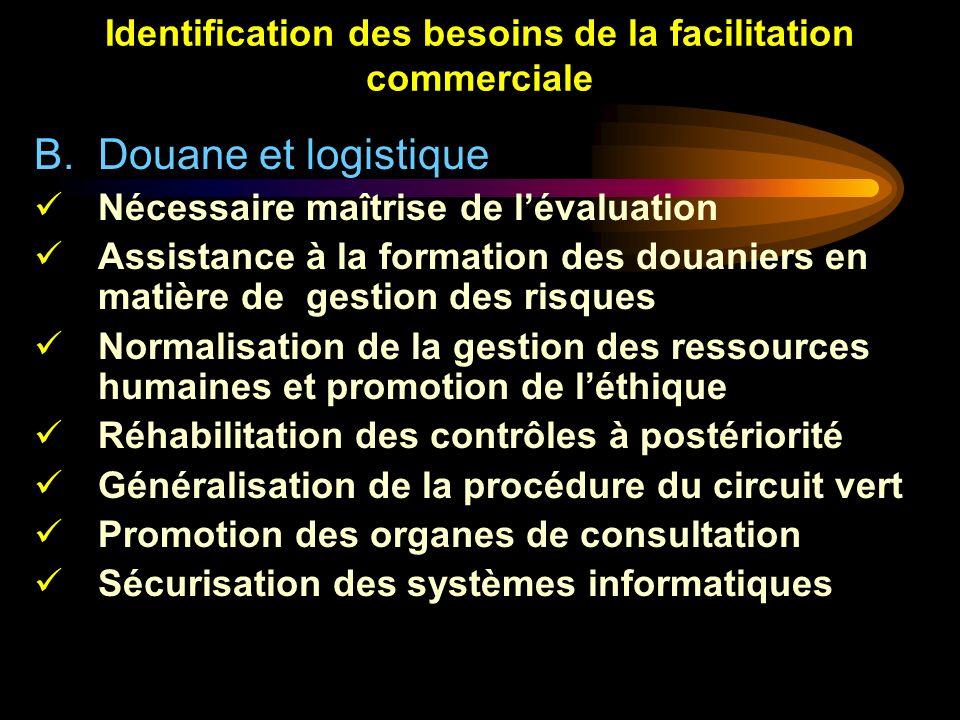 Identification des besoins de la facilitation commerciale B.Douane et logistique Nécessaire maîtrise de lévaluation Assistance à la formation des doua