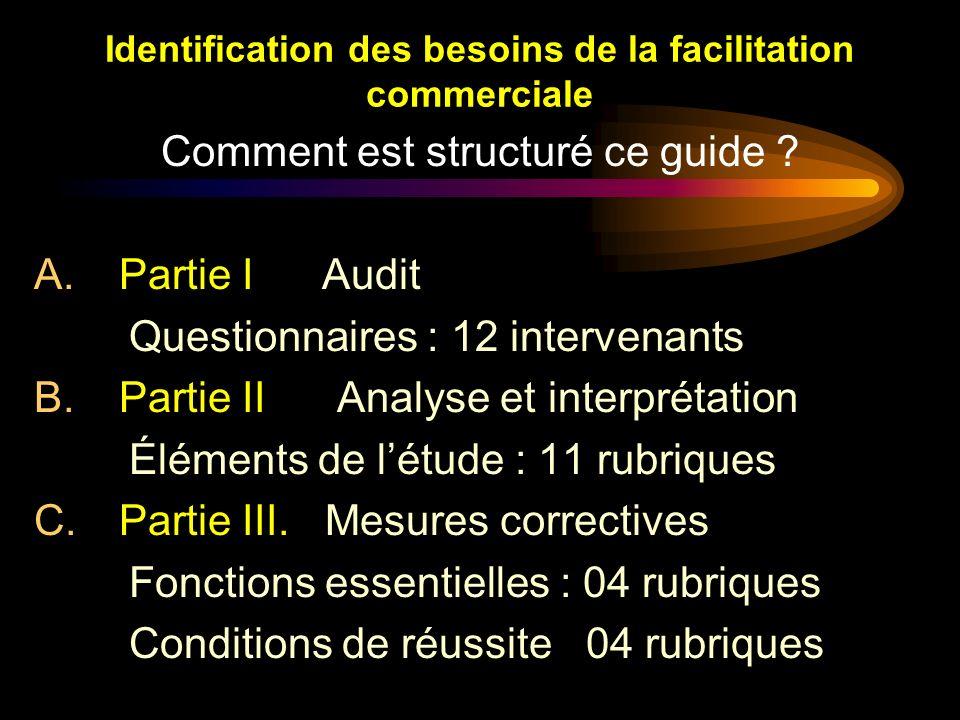Identification des besoins de la facilitation commerciale Comment est structuré ce guide ? A.Partie I Audit Questionnaires : 12 intervenants B.Partie