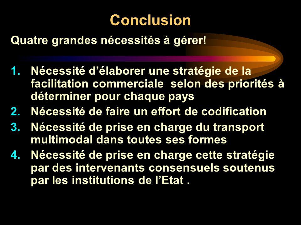 Conclusion Quatre grandes nécessités à gérer! 1.Nécessité délaborer une stratégie de la facilitation commerciale selon des priorités à déterminer pour