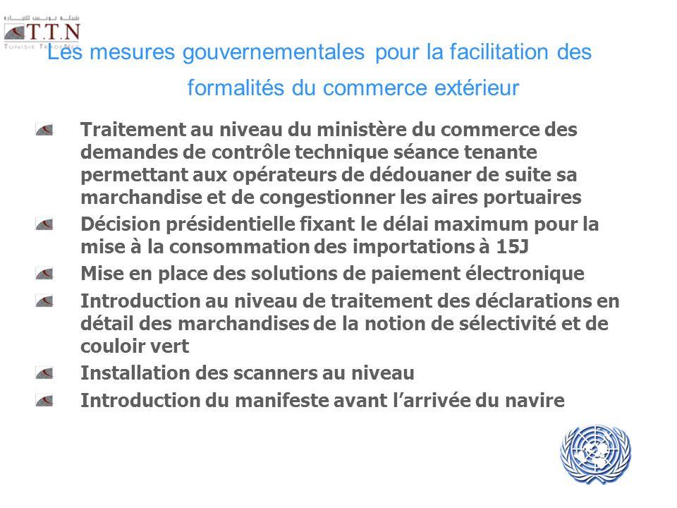 UNECE UN/CEFACT Les mesures gouvernementales pour la facilitation des formalités du commerce extérieur Traitement au niveau du ministère du commerce d