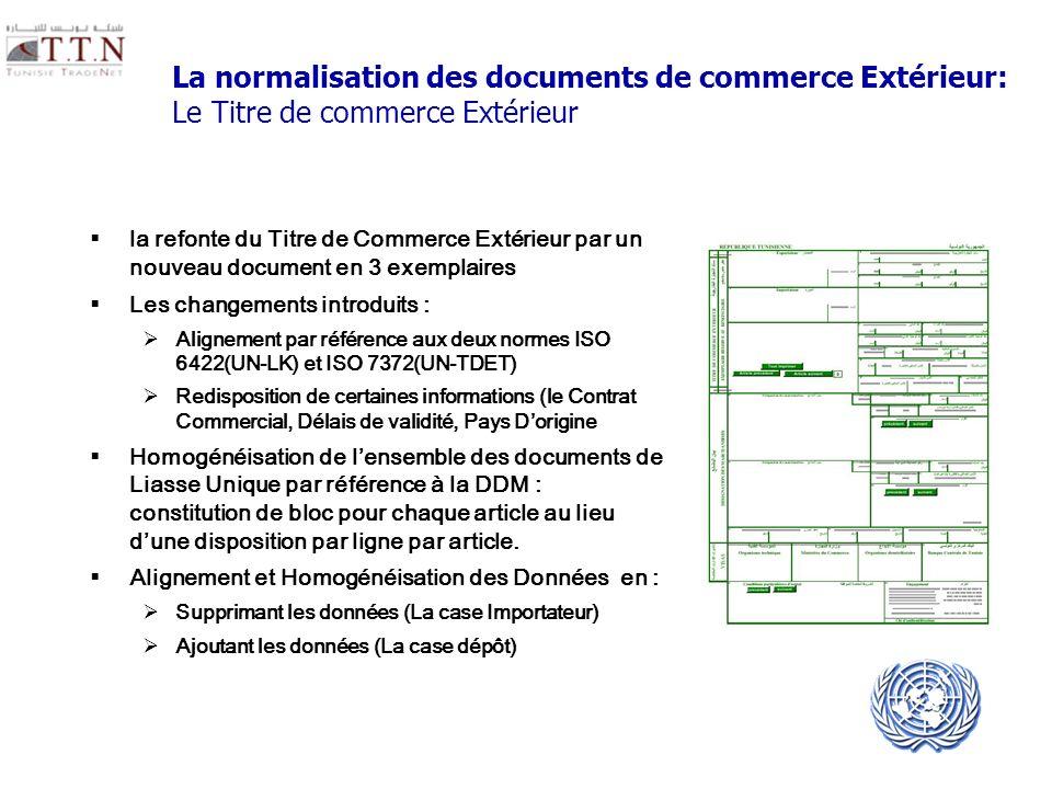 UNECE UN/CEFACT La normalisation des documents de commerce Extérieur: Le Titre de commerce Extérieur la refonte du Titre de Commerce Extérieur par un