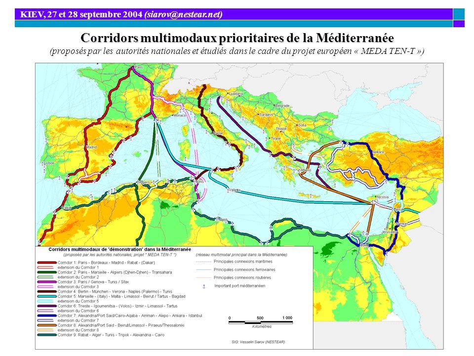 Corridors multimodaux prioritaires de la Méditerranée Corridors multimodaux prioritaires de la Méditerranée (proposés par les autorités nationales et