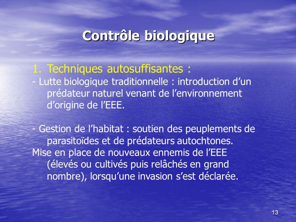 13 Contrôle biologique 1.Techniques autosuffisantes : - Lutte biologique traditionnelle : introduction dun prédateur naturel venant de lenvironnement